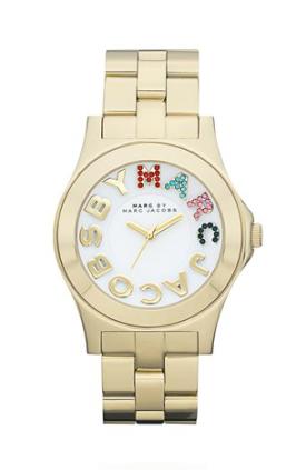 elblogdeanasuero_Regalos Navidad Relojes_Marc Jacobs oro amarillo y letras