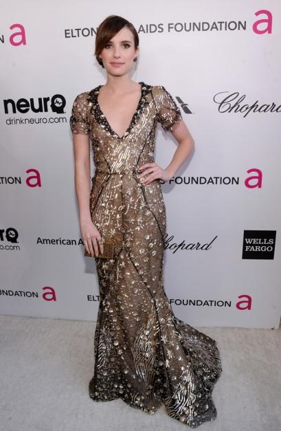 elblogdeanasuero_Fiestas Oscars 2013_Emma Roberts Oscar de la Renta metalizado