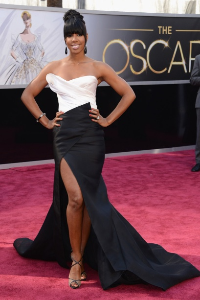 elblogdeanasuero_Oscars 2013_Kelly Rowland Donna Karan blanco y negro