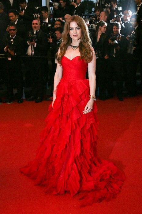 elblogdeanasuero_Cannes 2013_Oscar de la Renta Isla Fisher rojo