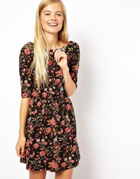 elblogdeanasuero_Estampado flores_Asos mini vestido fondo negro