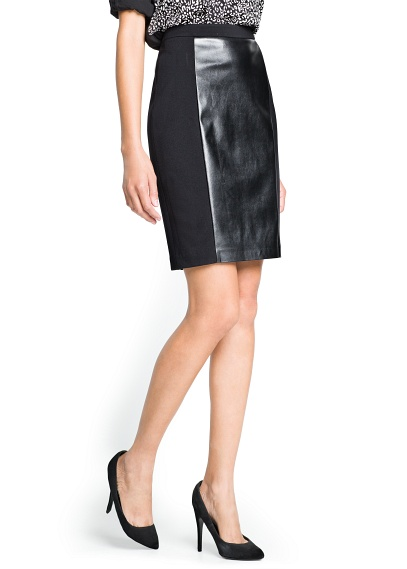 elblogdeanasuero Faldas de cuero Mango falda tubo tejidos combinados e0824219a7a8