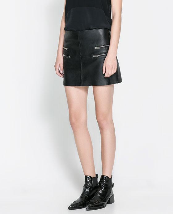 elblogdeanasuero Faldas de cuero Zara minifalda con cremalleras dd16ee5605d7