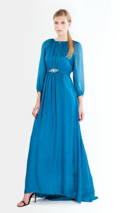 elblogdeanasuero_Vestidos de boda azules_Purificación García largo con manga larga