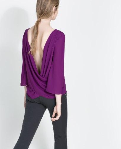 elblogdeanasuero_Color orquídea radiante_Zara blusa espalda drapeada