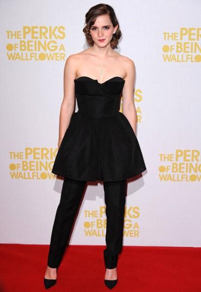 elblogdeanasuero_El estilo de Emma Watson_Dior vestido y pantalón negro