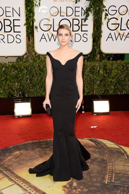 elblogdeanasuero_Globos de Oro 2014_Emma Roberts Lanvin negro corte sirena