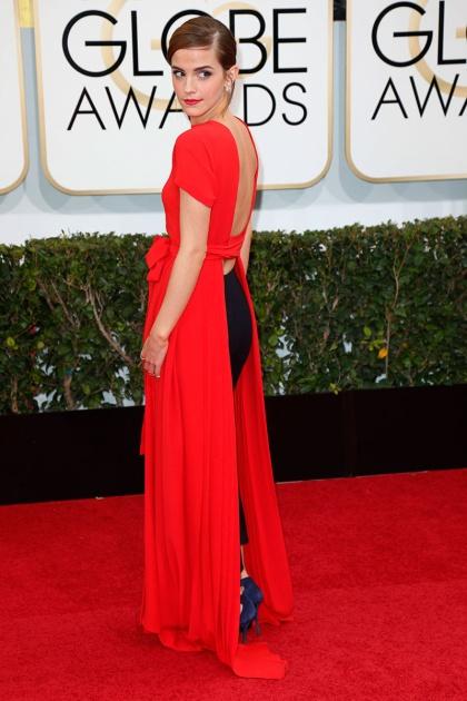 elblogdeanasuero_Globos de Oro 2014_Emma Watson Dior Vestido rojo y pantalones