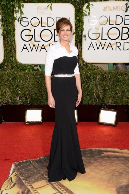 elblogdeanasuero_Globos de Oro 2014_Julia Roberts Dolce & Gabbana blanco y negro
