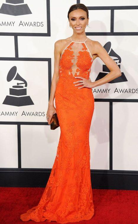 elblogdeanasuero_Grammys 2014_Giuliana Rancid vestido Alex Perry encaje naranja