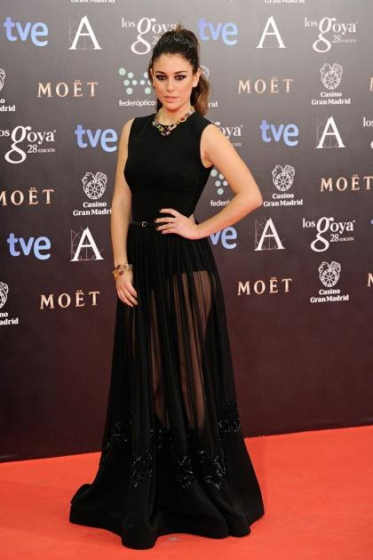 elblogdeanasuero_Premios Goya 2014_Blanca Suárez vestido Elie Saab negro transparencias