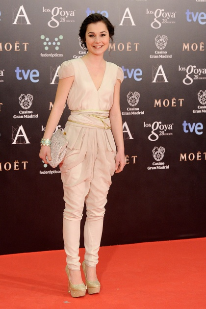 elblogdeanasuero_Premios Goya 2014_Nadia de Santiago mono Miguel Palacio para Hoss beige