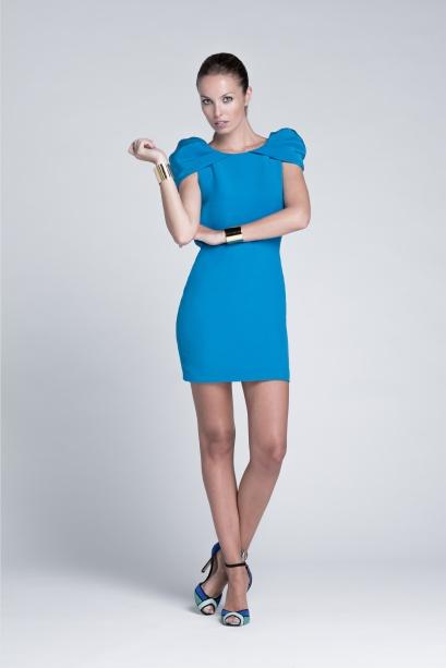 elblogdeanasuero_vestidos cortos bodas primavera 2014_Colour Nude azul manga abullonada