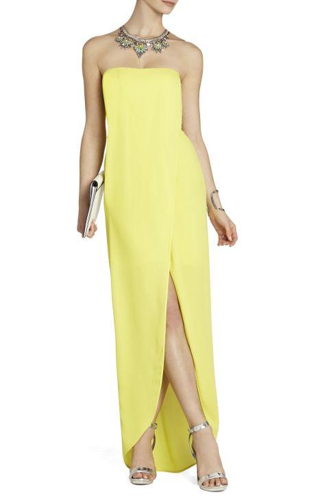 elblogdeanasuero_vestidos largos bodas primavera 2014_BCBG vestido amarillo palabra de honor y abertura