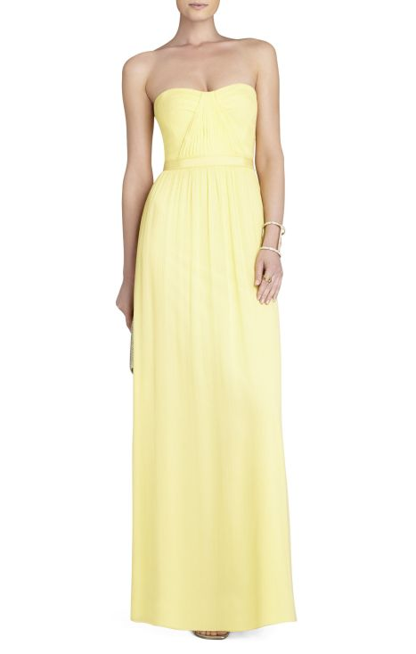 elblogdeanasuero_vestidos largos bodas primavera 2014_BCBG vestido amarillo palabra de honor