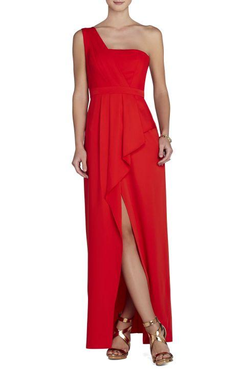 elblogdeanasuero_vestidos largos bodas primavera 2014_BCBG vestido asimétrico rojo