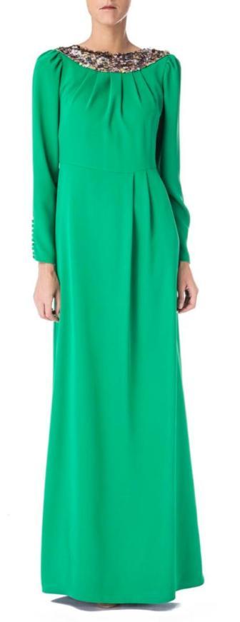 elblogdeanasuero_vestidos largos bodas primavera 2014_David Christian verde de manga larga y lentejuelas en el cuello