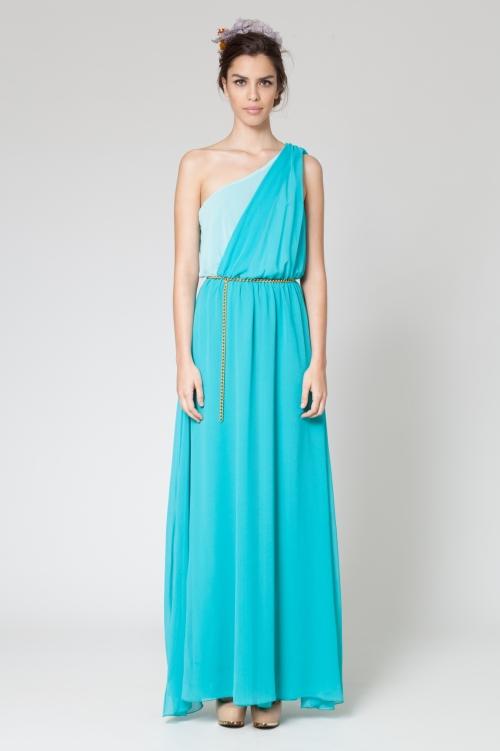 elblogdeanasuero_vestidos largos bodas primavera 2014_Poete vestido griego turquesa