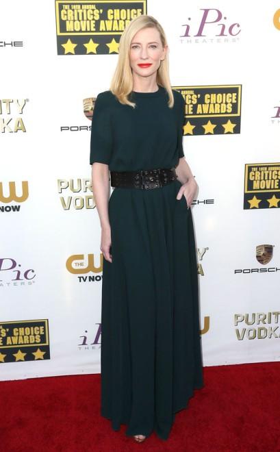 elblogdeanasuero_El estilo de Cate Blanchett_Lanvin largo con cinturón Critic Choice Awards 2014