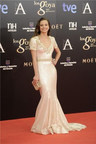 elblogdeanasuero_El estilo de Michele Jenner_Andrew Gn vestido Goyas 2013 blanco paillettes