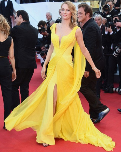 elblogdeanasuero_Festival de Cannes_Uma Thurman Versace amarillo