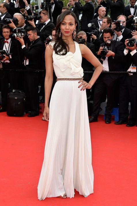 elblogdeanasuero_Festival de Cannes_Zoe Saldana vestido blanco plisado Victoria Beckham