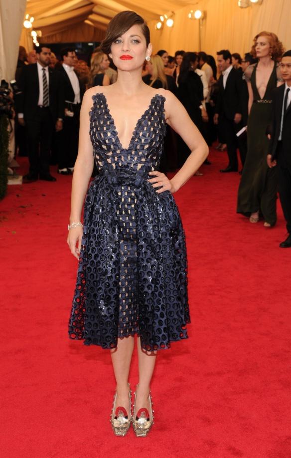 elblogdeanasuero_Met Ball 2014_Dior Marion Cotillard vestido midi azul con bordados