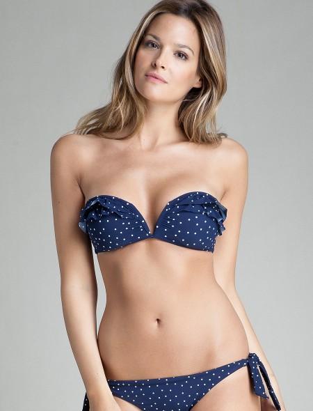 elblogdeanasuero_Bikinis 2014_Women Secret bikini bandeau topos azul marino