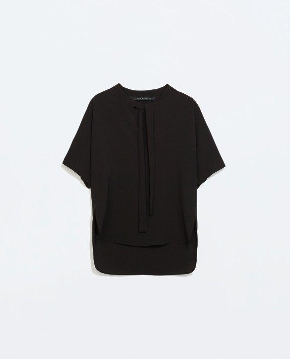 elblogdeanasuero_Camisas con lazo en el cuello_Zara negra manga corta
