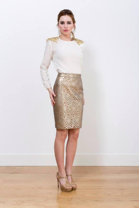 elblogdeanasuero_Invitadas bofa otoño-invierno 2014-2015_Panambi falda polipel dorada y blusa blanca