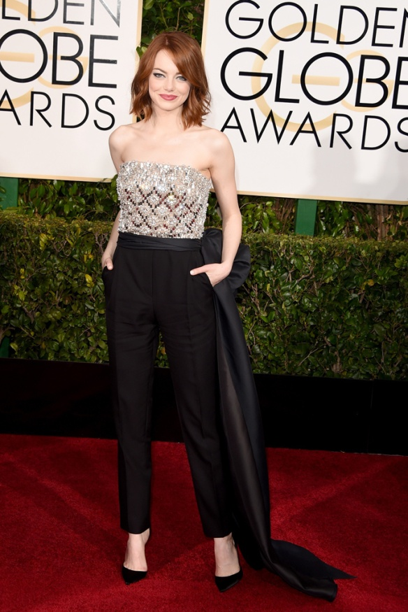 elblogdeanasuero_Globos de Oro 2015_Emma Stone Lanvin pantalón y top joya palabra de honor