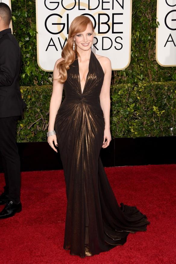 elblogdeanasuero_Globos de Oro 2015_Jessica Chastain Versace drapeado cobre