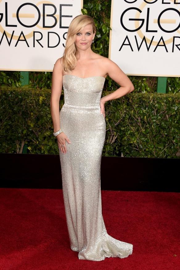 elblogdeanasuero_Globos de Oro 2015_Reese Witherspoon vestido Calvin Klein metalizado palabra de honor