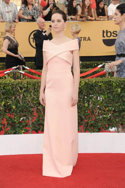 elblogdeanasuero_SAG Awards 2015_Felicity Jones Balenciaga rosa claro escote barco