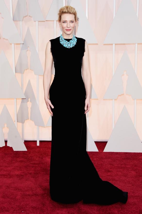 elblogdeanasuero_Oscars 2015_Cate Blanchett Margiela negro y collar de Tiffany & Co