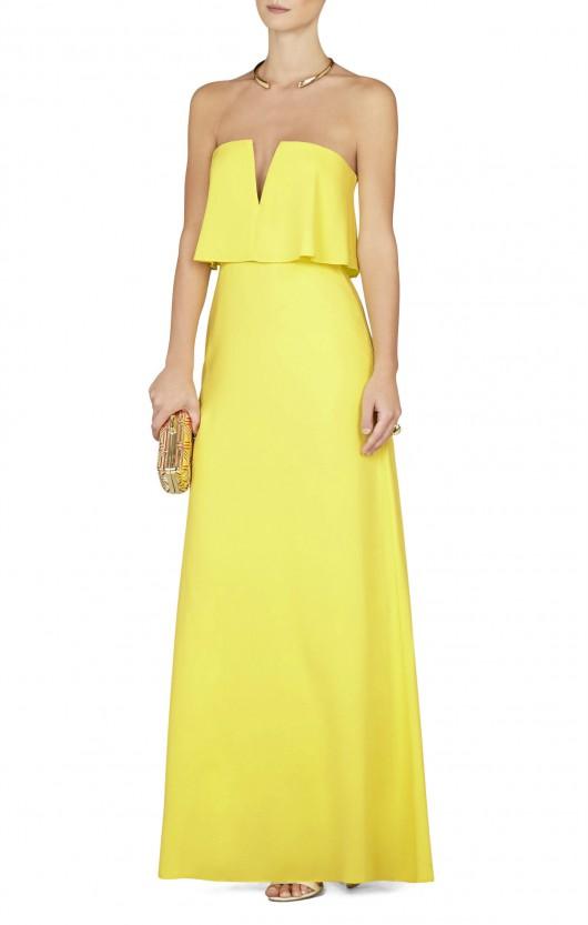 elblogdeanasuero-Invitadas boda 2015-BCBG vestido largo amarillo palabra de honor