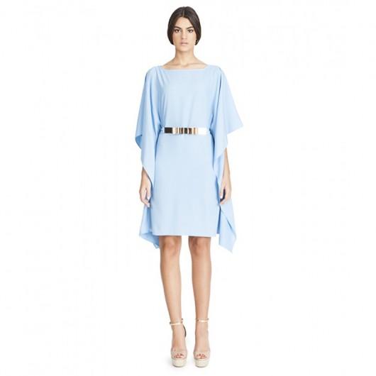 elblogdeanasuero-Invitadas boda 2015-Bruna vestido corto azul claro grandes mangas