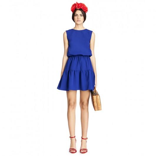 elblogdeanasuero-Invitadas boda 2015-Bruna vestido corto azul klein con volante