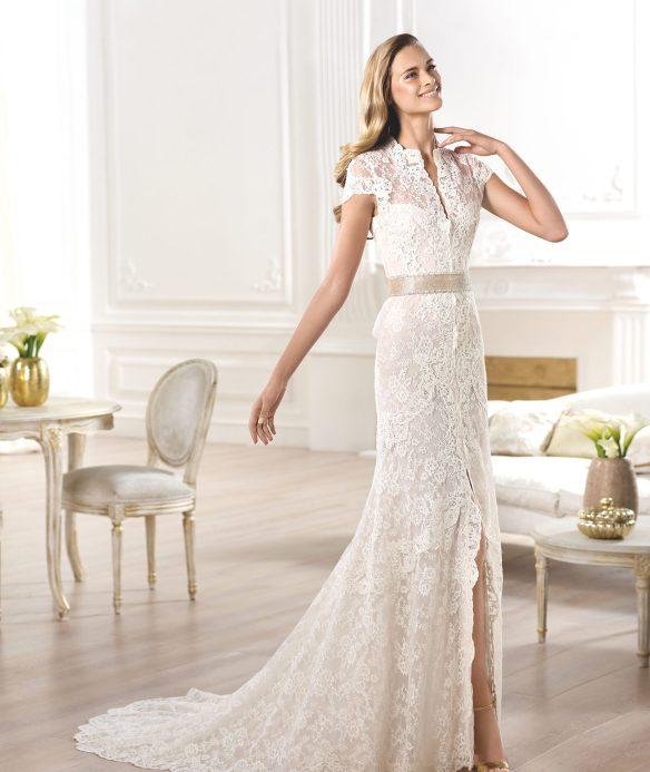elblogdeanasuero-Vestidos de novia 2015-Pronovias vestido camisero de encaje