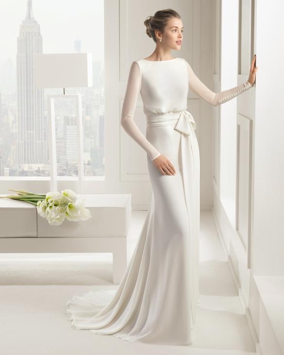 elblogdeanasuero-Vestidos de novia 2015-Rosa Clará vestido georgette lazo cintura