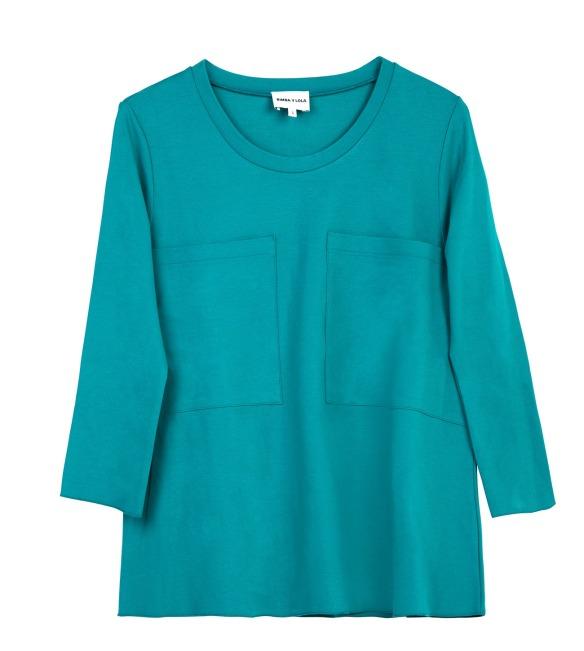elblogdeanasuero_Pantone Primavera 2015_Bimba y Lola Color turquesa camiseta con dos bolsillos