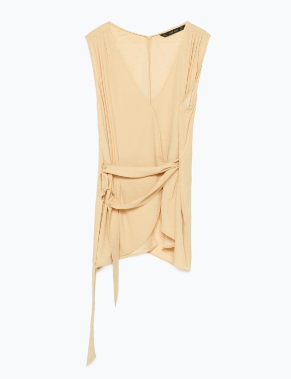 elblogdeanasuero_Pantone Primavera 2015_Zara Color custar top escote pico con lazo en la cintura