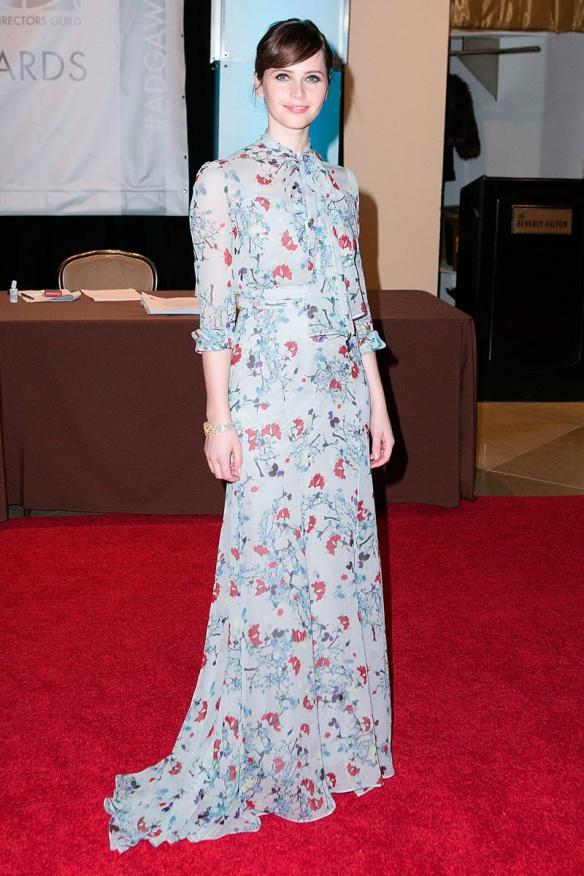 elblogdeanasuero-El estilo de Felicity Jones-Erdem vestido largo con flores