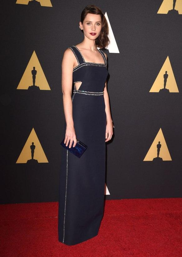 elblogdeanasuero-El estilo de Felicity Jones-Prada vestido largo con detalles de paillettes azul noche