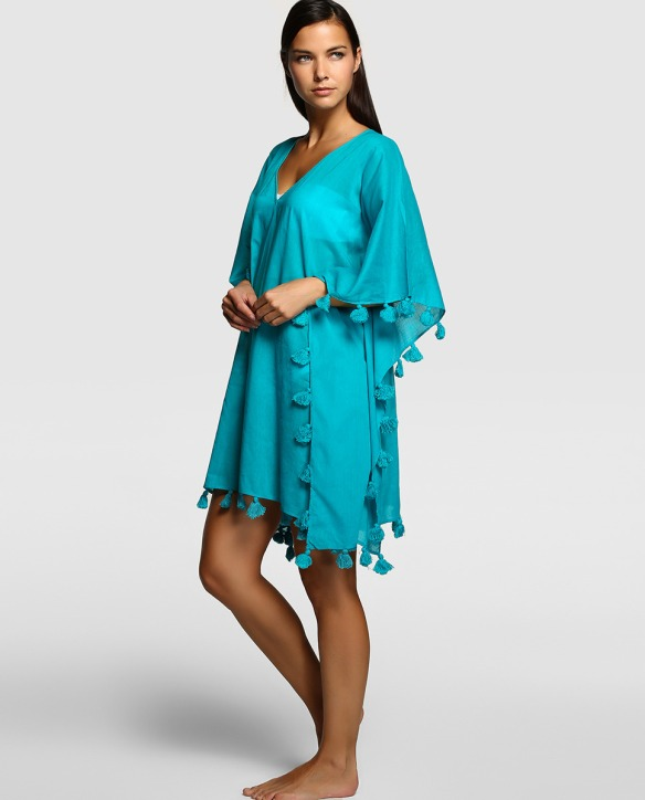 elblogdeanasuero-moda para la playa-El Corte Inglés caftan turquesa con flecos para la playa
