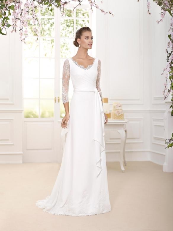 elblogdeanasuero-Avance vestidos de novia 2016-Novia D´art vestido recto mangas de encaje y escote en la espalda DASHA