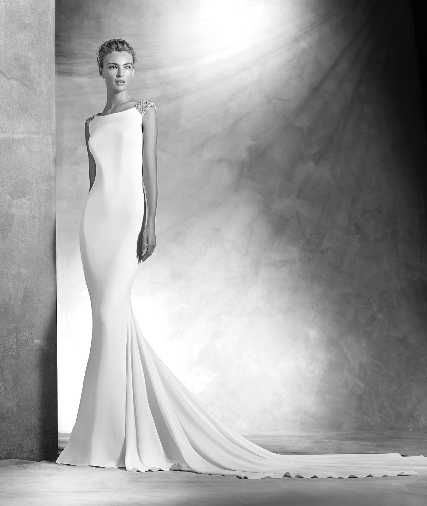 Vestido de novia lisos corte sirena