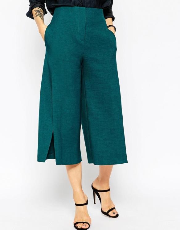 elblogdeanasuero-Pantalón culotte-Asos pantalón culotte con aberturas en los lados verde jade
