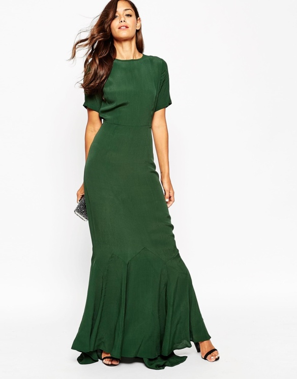 el blog de ana suero-vestidos para invitadas a una boda en otoño invierno-Asos Petite vestido largo verde botella con volante