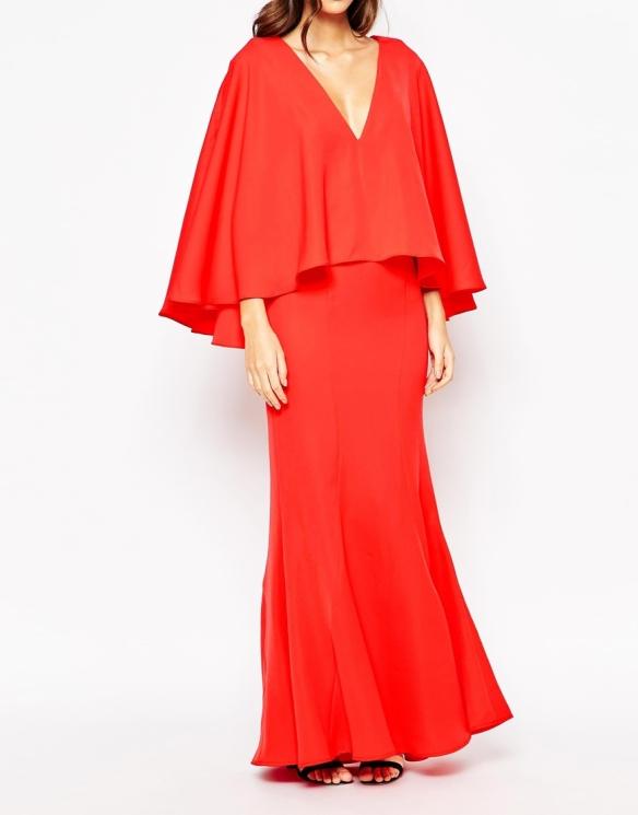 el blog de ana suero-vestidos para invitadas a una boda en otoño invierno-Asos vestido largo rojo con capa